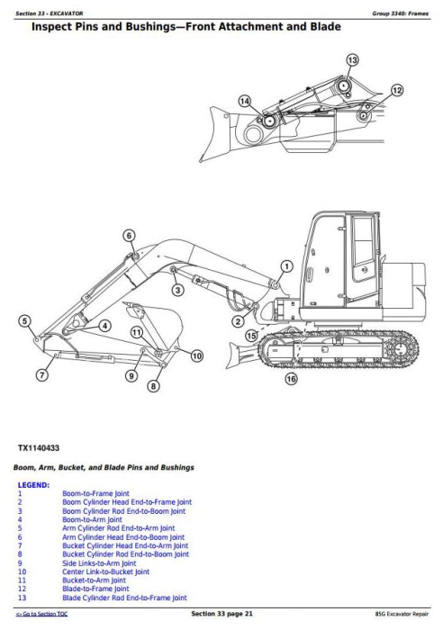 Fourth Additional product image for - John Deere 85G (FT4) Excavator Service Repair Technical Manual (TM12870)