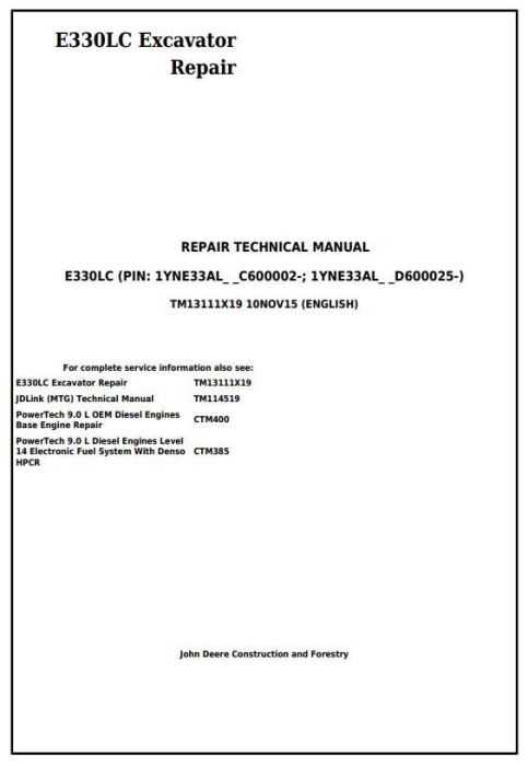 First Additional product image for - John Deere E330LC Excavator Service Repair Technical Manual (TM13111X19)