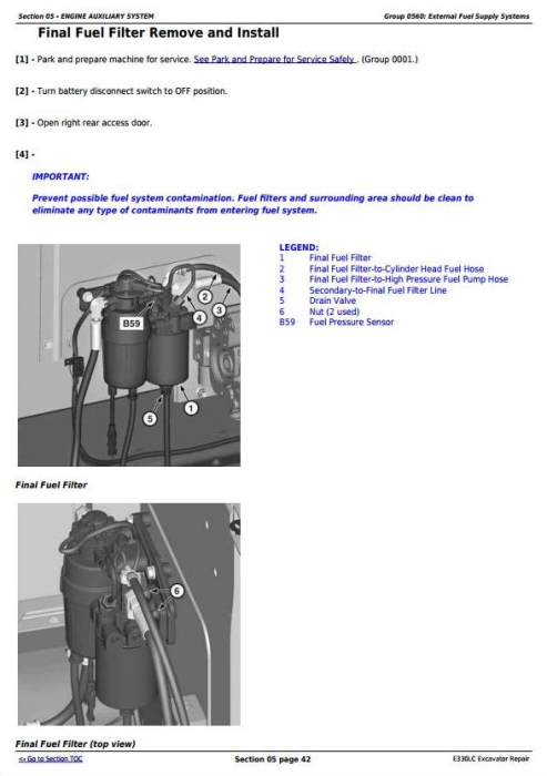 Second Additional product image for - John Deere E330LC Excavator Service Repair Technical Manual (TM13111X19)