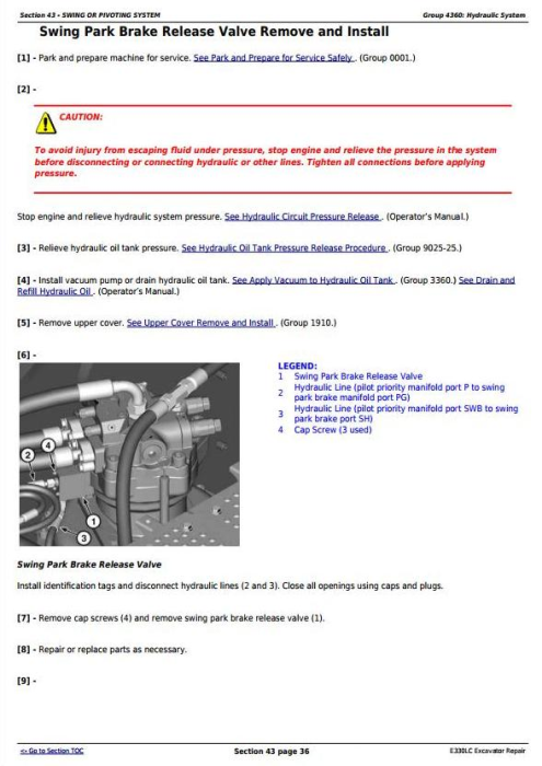 Fourth Additional product image for - John Deere E330LC Excavator Service Repair Technical Manual (TM13111X19)