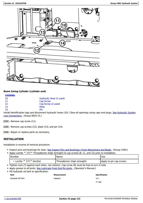 Fourth Additional product image for - John Deere 17G (SN. from 225001) Compact Excavator Service Repair Technical Manual (TM13326X19)