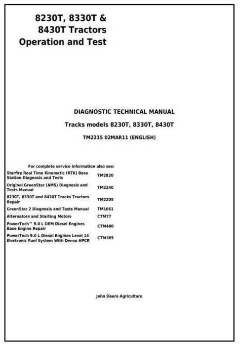 First Additional product image for - John Deere 8230T, 8330T & 8430T Tracks Tractors Diagnosis and Tests Service Manual (TM2215)