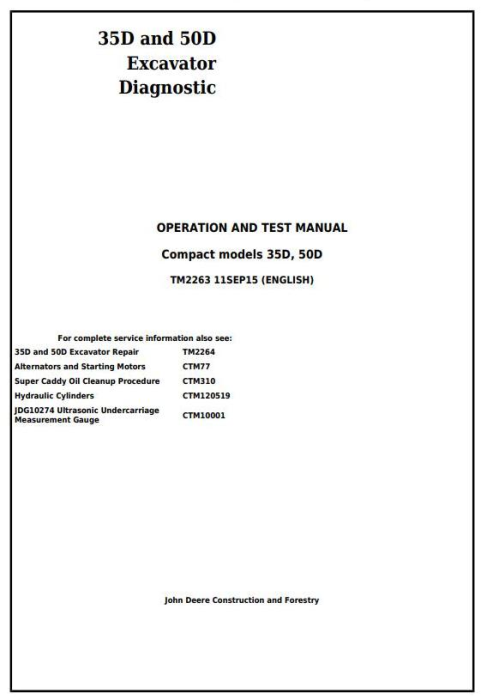 First Additional product image for - John Deere 35D and 50D Compact Excavator Diagnostic, Operation and Test Service Manual (TM2263)