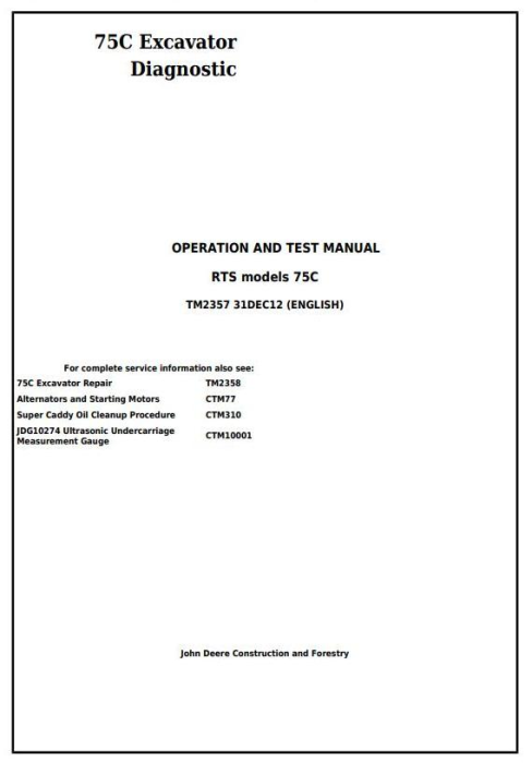 First Additional product image for - John Deere 75C RTS Excavator Diagnostic, Operation and Test Service Manual (TM2357)