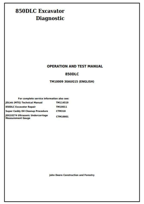 First Additional product image for - John Deere 850DLC Excavator Diagnostic, Operation and Test Service Manual (TM10009)