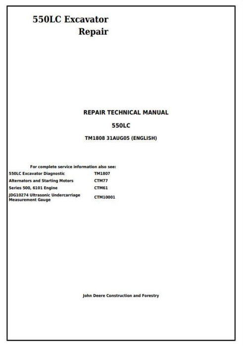 First Additional product image for - John Deere 550LC Excavator Service Repair Technical Manual (tm1808)