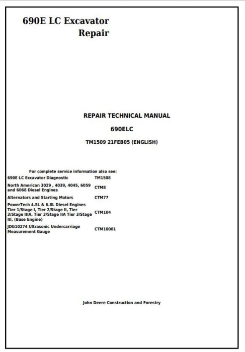 First Additional product image for - John Deere 690E LC Excavator Service Repair Technical Manual (tm1509)