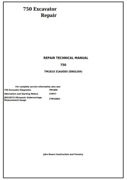 First Additional product image for - John Deere 750 Excavator Service Repair Technical Manual (tm1810)