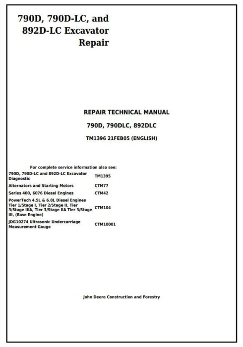 First Additional product image for - John Deere 790D, 790D-LC, and 892D-LC Excavator Service Repair Technical Manual (tm1396)