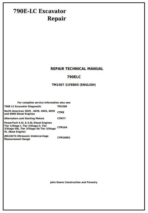 First Additional product image for - John Deere 790E-LC Excavator Service Repair Technical Manual (tm1507)