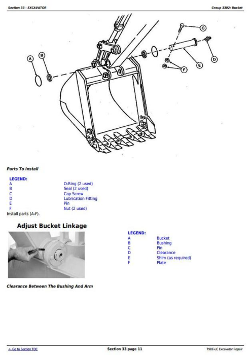 Third Additional product image for - John Deere 790E-LC Excavator Service Repair Technical Manual (tm1507)
