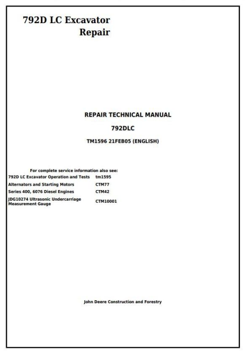 First Additional product image for - John Deere 792D LC Excavator Service Repair Technical Manual (tm1596)