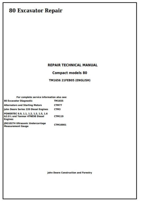 First Additional product image for - John Deere 80 Midi Excavator Service Repair Technical Manual (tm1656)