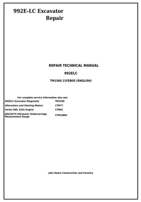 First Additional product image for - John Deere 992E-LC Excavator Service Repair Technical Manual (tm1560)