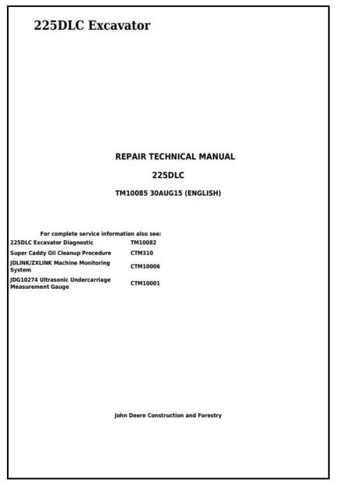 First Additional product image for - John Deere 225DLC Excavator Service Repair Technical Manual (TM10085)