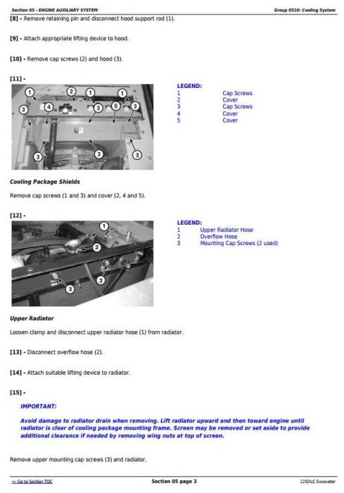Second Additional product image for - John Deere 225DLC Excavator Service Repair Technical Manual (TM10085)