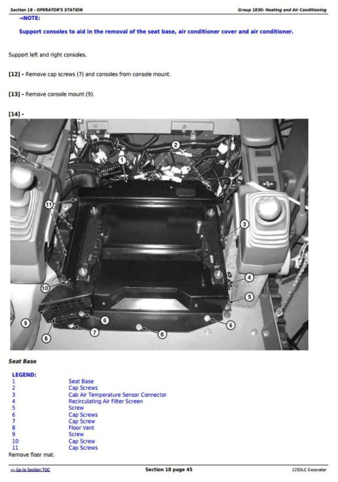 Third Additional product image for - John Deere 225DLC Excavator Service Repair Technical Manual (TM10085)