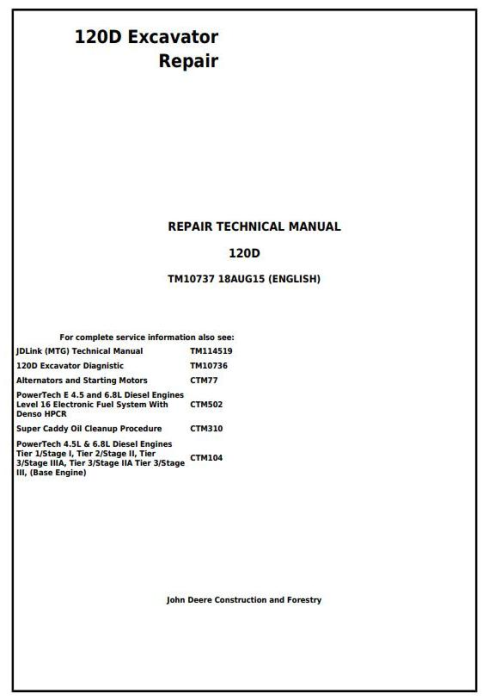 First Additional product image for - John Deere 120D Excavator Service Repair Manual (TM10737)