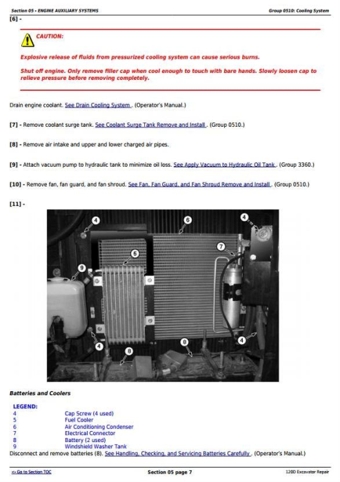 Second Additional product image for - John Deere 120D Excavator Service Repair Manual (TM10737)