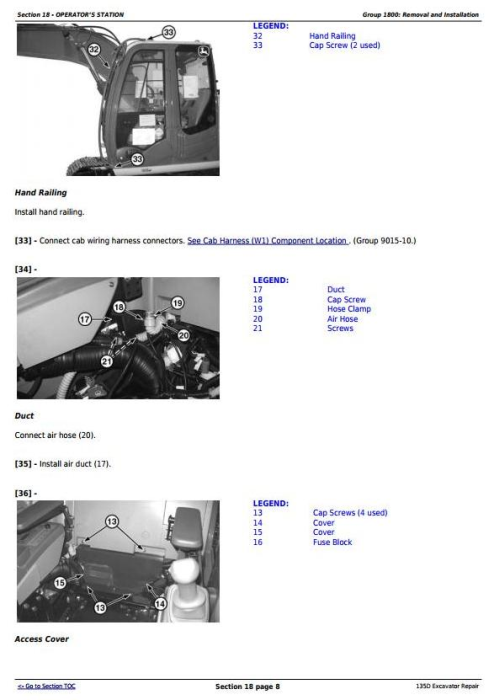 Third Additional product image for - John Deere 135D RTS Excavator Service Repair Technical Manual (TM10743)