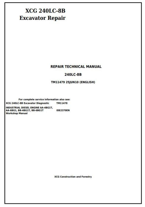 First Additional product image for - XCG 240LC-8B Excavator Service Repair Technical  Manual (TM11479)