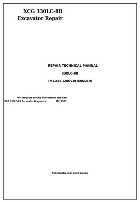 First Additional product image for - XCG 330LC-8B Excavator Service Repair Technical Manual (TM11586)