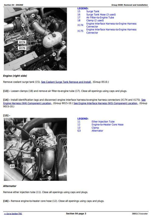 Second Additional product image for - John Deere 380GLC (PIN:1FF380GX__D900001) T3/S3A Excavator Service Repair Technical Manual (TM12575)