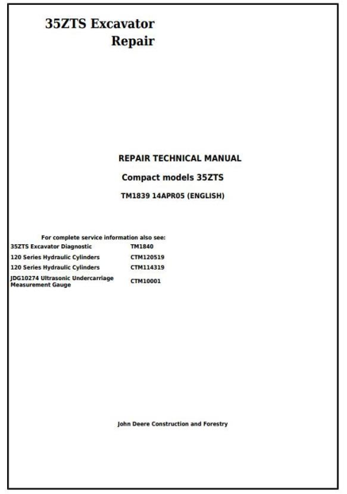 First Additional product image for - John Deere 35ZTS Compact Excavator Service Repair Technical Manual (TM1839)