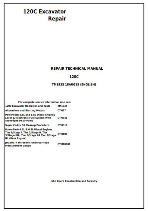 First Additional product image for - John Deere 120C Excavator Service Repair Manual (TM1935)