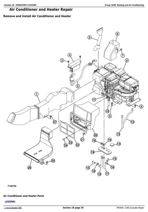 Third Additional product image for - John Deere 120C Excavator Service Repair Manual (TM1935)