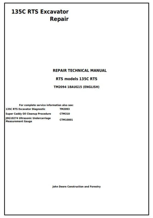 First Additional product image for - John Deere 135C RTS RTS Excavator Service Repair Manual (TM2094)