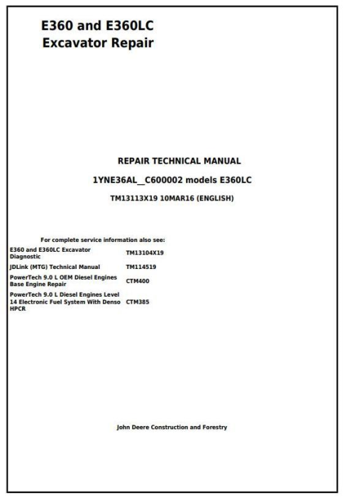 First Additional product image for - John Deere E360 and E360LC Excavator Service Repair Manual (TM13113X19)