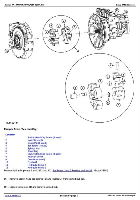 Second Additional product image for - John Deere E360 and E360LC Excavator Service Repair Manual (TM13113X19)