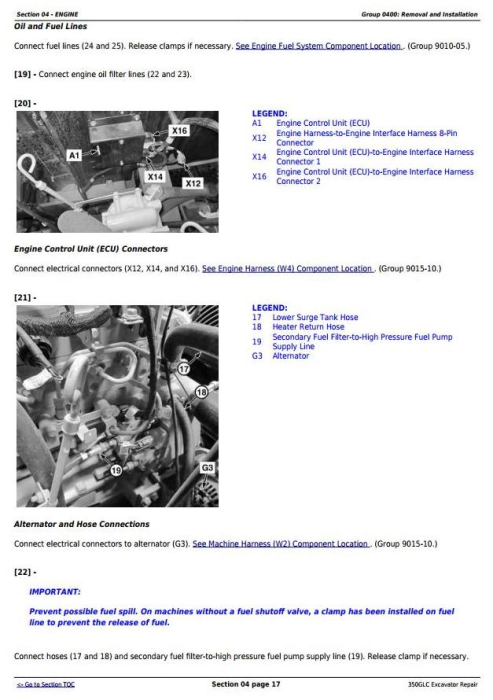 Second Additional product image for - John Deere 350GLC Excavator Service Repair Technical Manual (TM13197X19)
