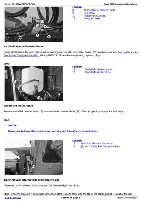 Third Additional product image for - John Deere 350GLC Excavator Service Repair Technical Manual (TM13197X19)