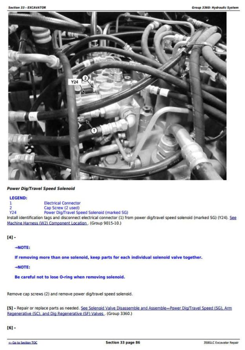 Fourth Additional product image for - John Deere 350GLC (PIN: 1FF350GX__F809192-) Excavator Service Repair Technical Manual (TM13207X19)