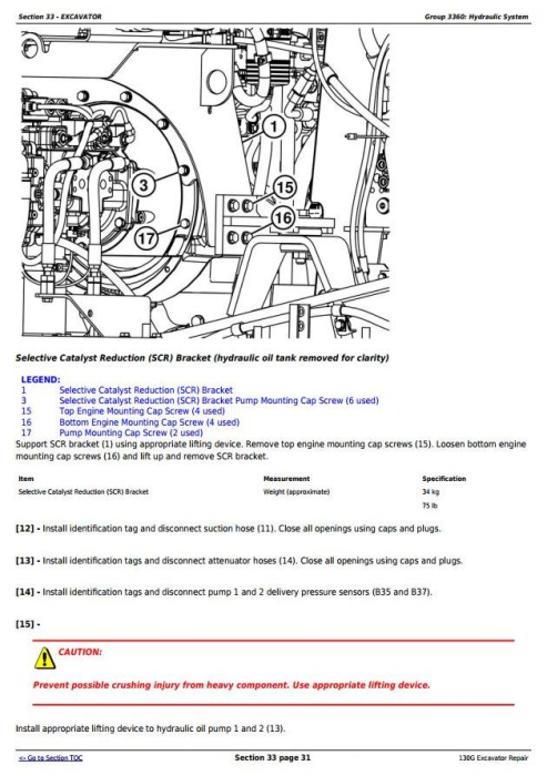 Third Additional product image for - John Deere 130G (S.N: 1FF130GX_F040608) Excavator Service Repair Manual (TM13348X19)