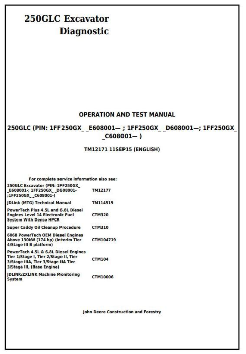 First Additional product image for - John Deere 250GLC Excavator Diagnostic, Operation and Test Service Manual (TM12171)