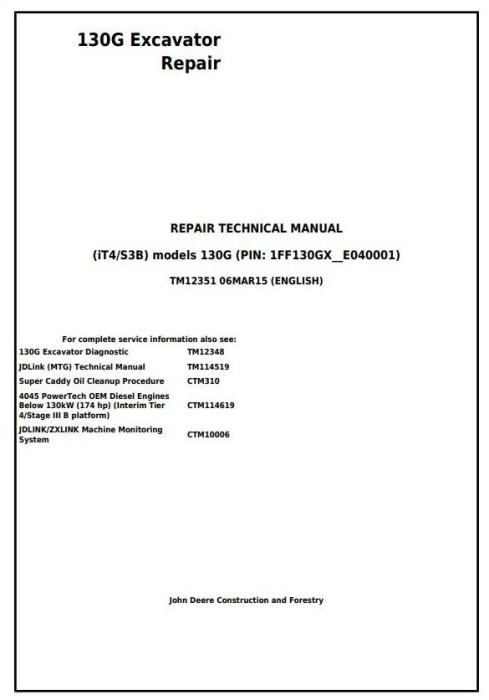 First Additional product image for - John Deere 130G (iT4/S3B) Excavator Service Repair Manual (TM12351)