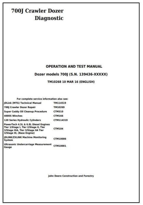 First Additional product image for - John Deere 700J Crawler Dozer (S.N.from 139436) Diagnostic, Operation & Test Service Manual (TM10268)