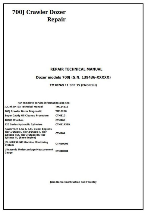 First Additional product image for - John Deere 700J Crawler Dozer (S.N. from 139436) Service Repair Technical Manual (TM10269)
