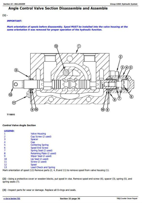 Fourth Additional product image for - John Deere 700J Crawler Dozer (S.N. from 139436) Service Repair Technical Manual (TM10269)