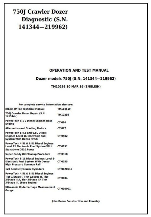 First Additional product image for - John Deere 750J Crawler Dozer (S.N.141344-219962) Diagnostic and Test Service Manual (TM10293)