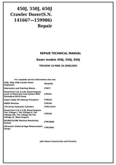 First Additional product image for - John Deere 450J, 550J, 650J Crawler Dozer (S.N.141667-159986) Service Repair Workshop Manual (TM10294)