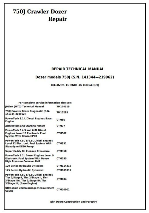 First Additional product image for - John Deere 750J Crawler Dozer (S.N. 141344-219962) Service Repair Technical Manual (TM10295)