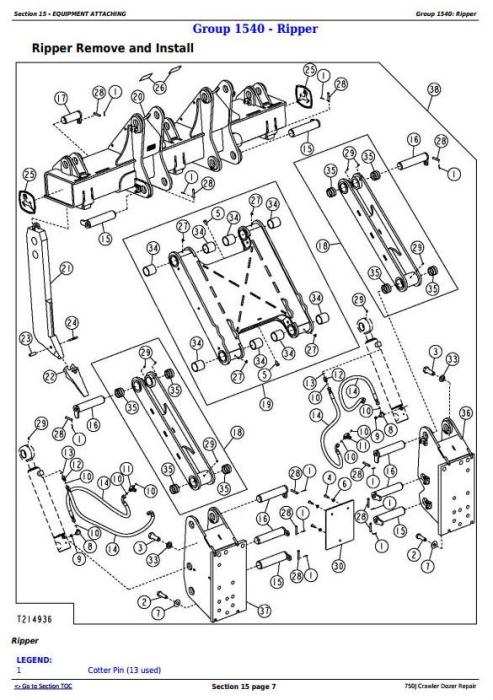 Third Additional product image for - John Deere 750J Crawler Dozer (S.N. 141344-219962) Service Repair Technical Manual (TM10295)