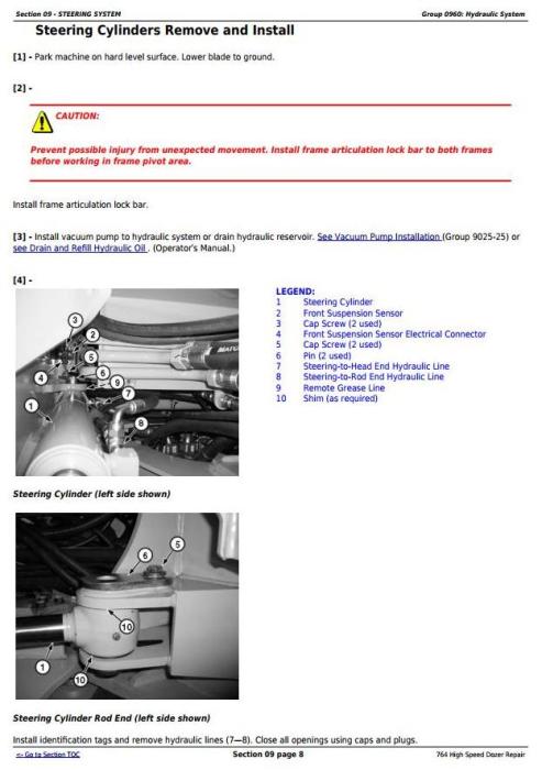 Third Additional product image for - John Deere 764 High Speed Crawler Dozer Service Repair Technical Manual (TM11193)
