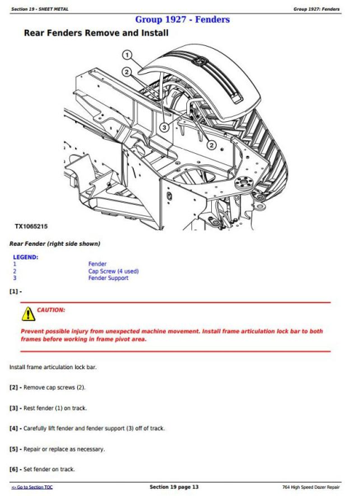 Fourth Additional product image for - John Deere 764 High Speed Crawler Dozer Service Repair Technical Manual (TM11193)