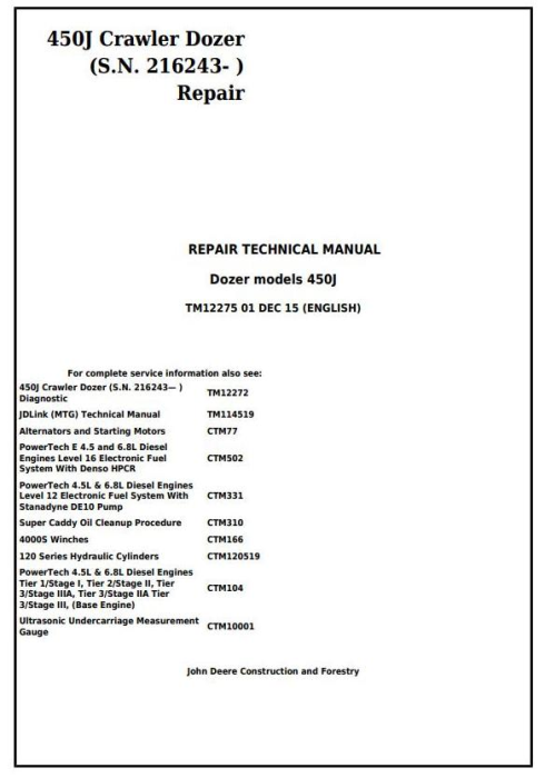 First Additional product image for - John Deere 450J Crawler Dozer (S.N. from 216243) Service Repair Technical Workshop Manual (TM12275)
