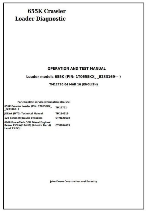 First Additional product image for - John Deere 655K Crawler Loader Diagnostic, Operation and Test Service Manual (TM12720)